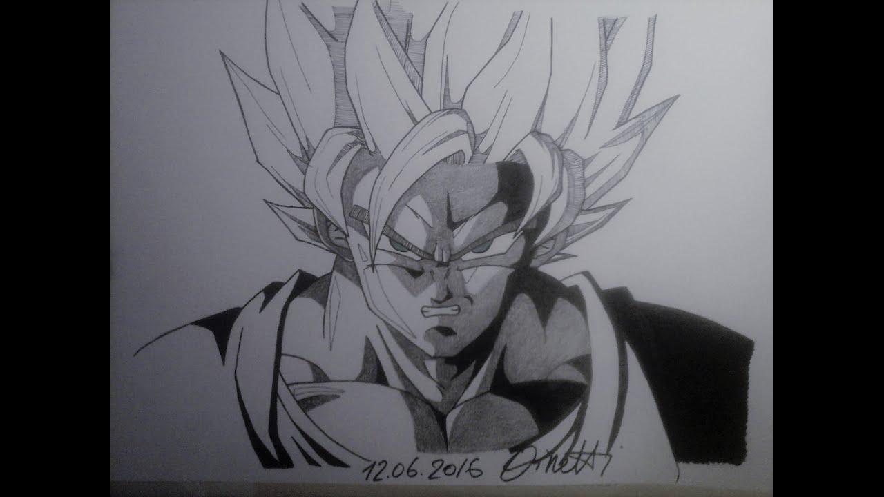 Drawing Goku SuperSaiyan 2 From Dragon Ball Z  YouTube