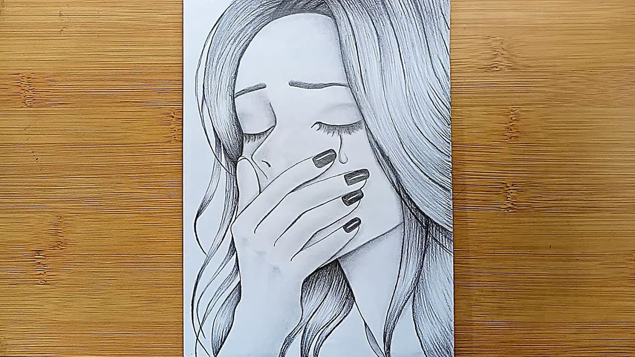 sad drawing sketch drawings easy draw pencil sketches beginners crying dessin depressing tutorial triste facile sketching alone very heart reproduire