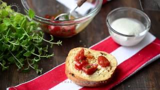 Cherry Tomato, Mozzarella  Basil Bruschetta