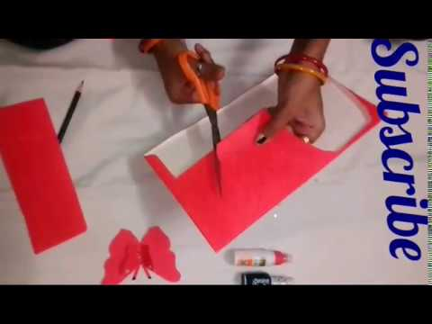How to make a paper  butterfly art  from ss!! How to make wedding card butterfly art from aod