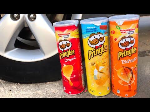 Crushing Crunchy & Soft Things by Car!   EXPERIMENT PRINGLES VS CAR vs FOOD