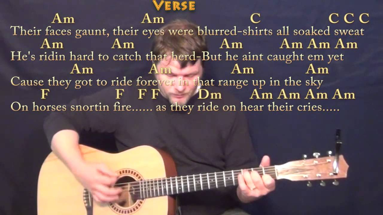 Ghost Riders in the Sky Johnny Cash Strum Guitar Cover Lesson in Am with  Chords/Lyrics
