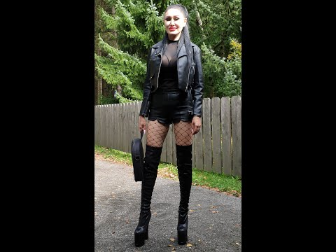 Granate Styling Business Outfit Going To Work, Walking In Thigh High Boots, High Heels 20cm