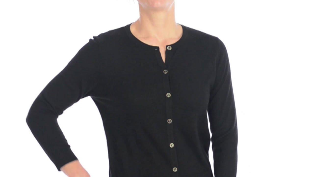 August Silk Abbv Cardigan Sweater - Jewel Neck, 3/4 Sleeve (For ...