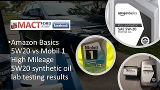 Amazon Basics 5W20 vs Mobil 1 High Mileage Synthetic test results