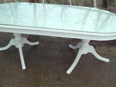 massive glass topped painted shabby chic dining table www