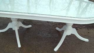 Massive Glass Topped Painted Shabby Chic Dining Table Www.vintageandpaintedfurniture.co.uk