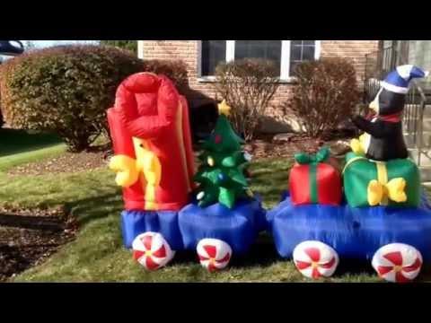 long inflatable animated christmas train