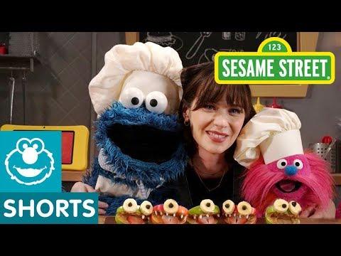 Sesame Street: Make Monster Faces with Zooey Deschanel!   Cookie Monster's Foodie Truck
