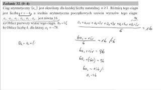 Matura podstawowa z matematyki maj 2019 zadanie 32 Ciąg arytmetyczny (an) jest określony dla każdej