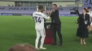 لحظة تتويج ريال مدريد بالدوري الاسباني 2019 2020 -