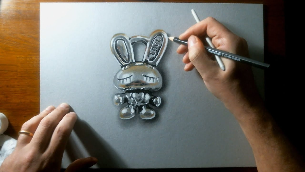 Speed Drawing: LOVE BUNNY - How to Draw 3D art - YouTube