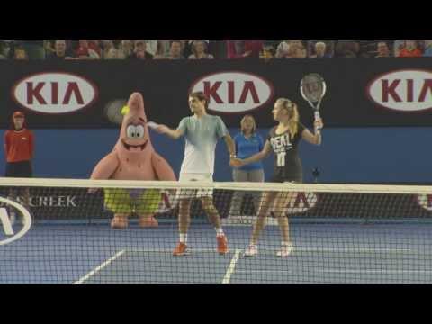 Federer, Azarenka, Stosur & Bouchard holding hands doubles - 2014 Australian Open