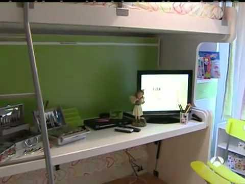 Muebles juveniles camas convertibles camas abatibles literas abatibles cama con escritorio youtube - Literas con escritorio debajo ...