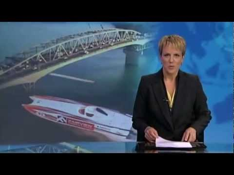 Powerboat Breaks Auckland to Great Barrier - 3 News
