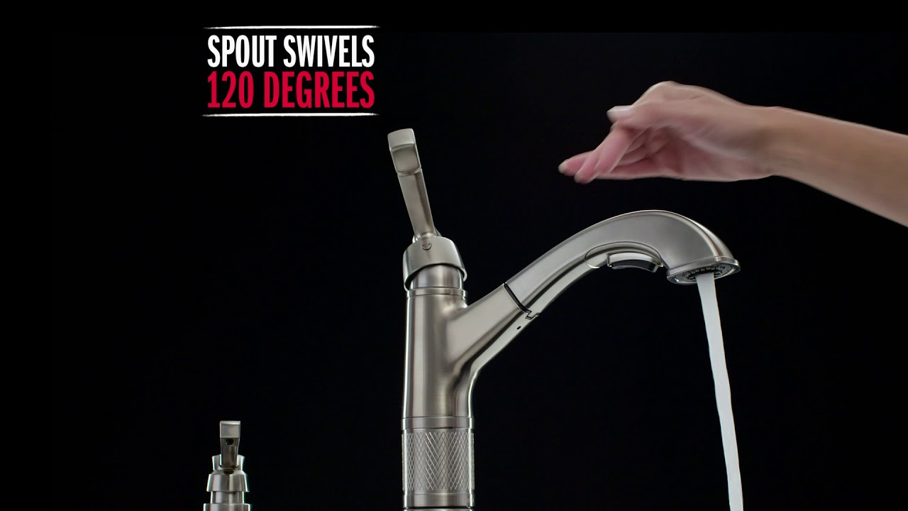 delta allentown single handle pull down kitchen faucet with spotshield technology video