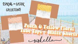 ROBLOX Speed Design: Pfirsich & gelb Floral Tube Tops + weiße Shorts | Siskella