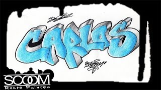 Graffiti CARLOS - How to draw graffiti names   By ScooM
