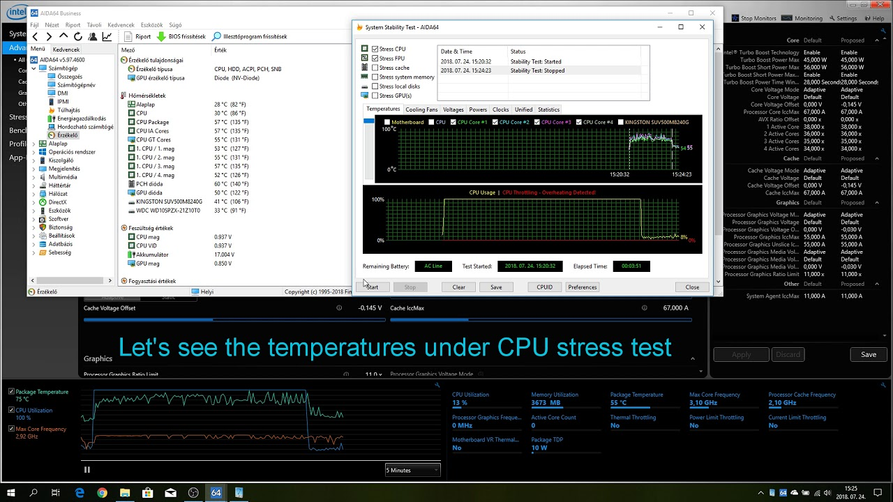 How to undervolt laptop cpu | prevent it from overheating | XTU | i7-7700HQ  Before - after temps