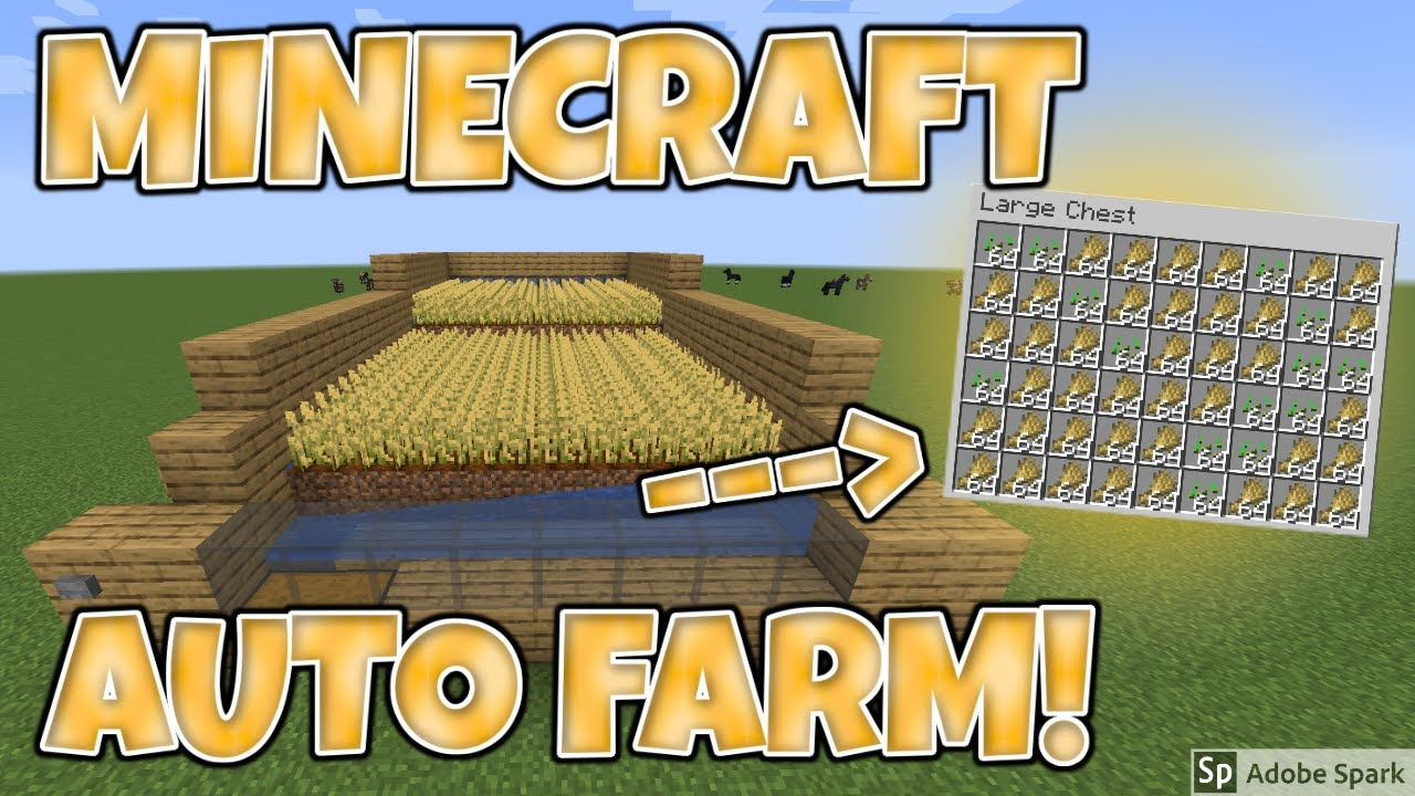 Minecraft 1 16 Easy Auto Wheat Farm Tutorial Works With Carrots Potato Beetroot Remake Youtube