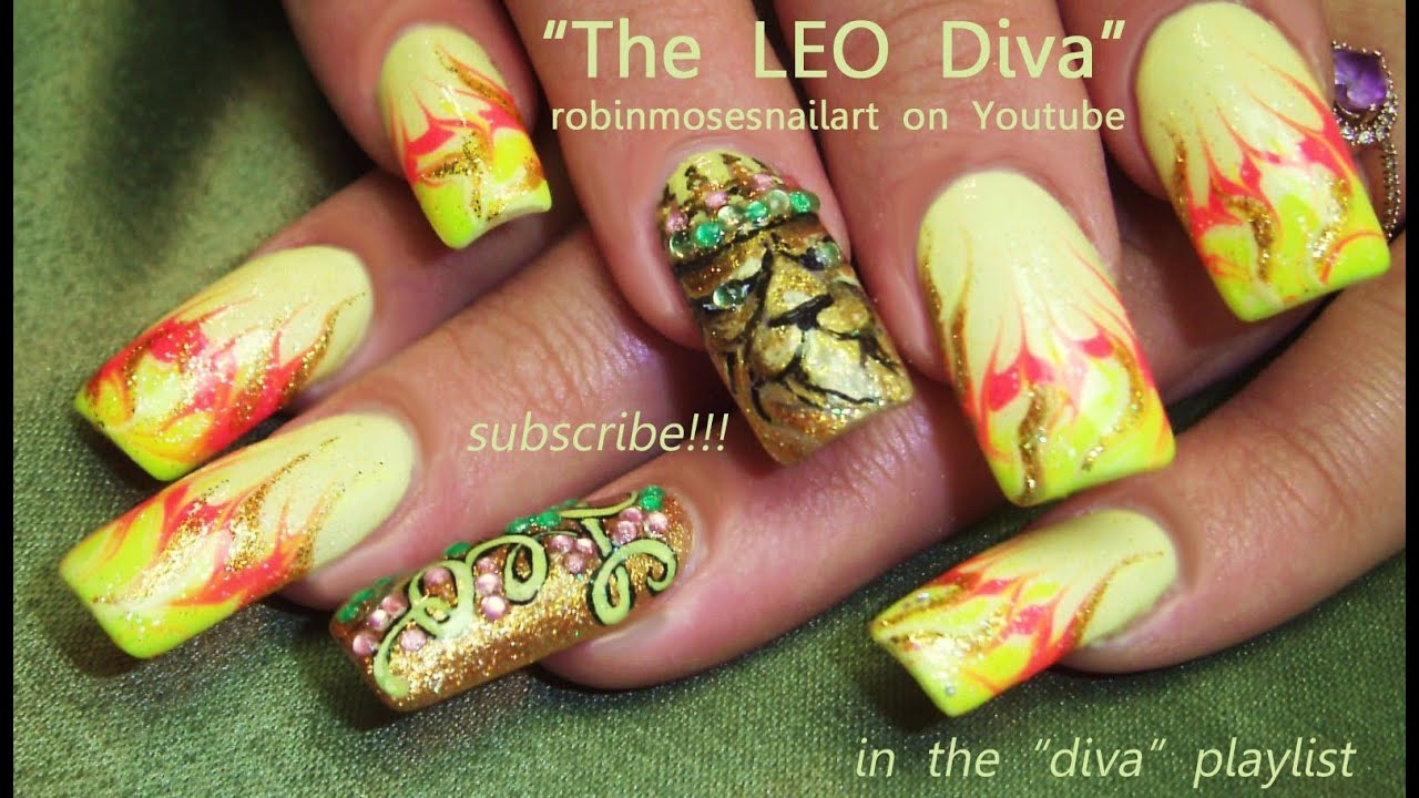 Leo Nail Art Design | Lion Nails With A Crown Bling tutorial - YouTube