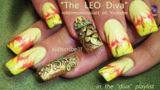 Leo Nail Art Design | Lion Nails With A Crown Bling tutorial