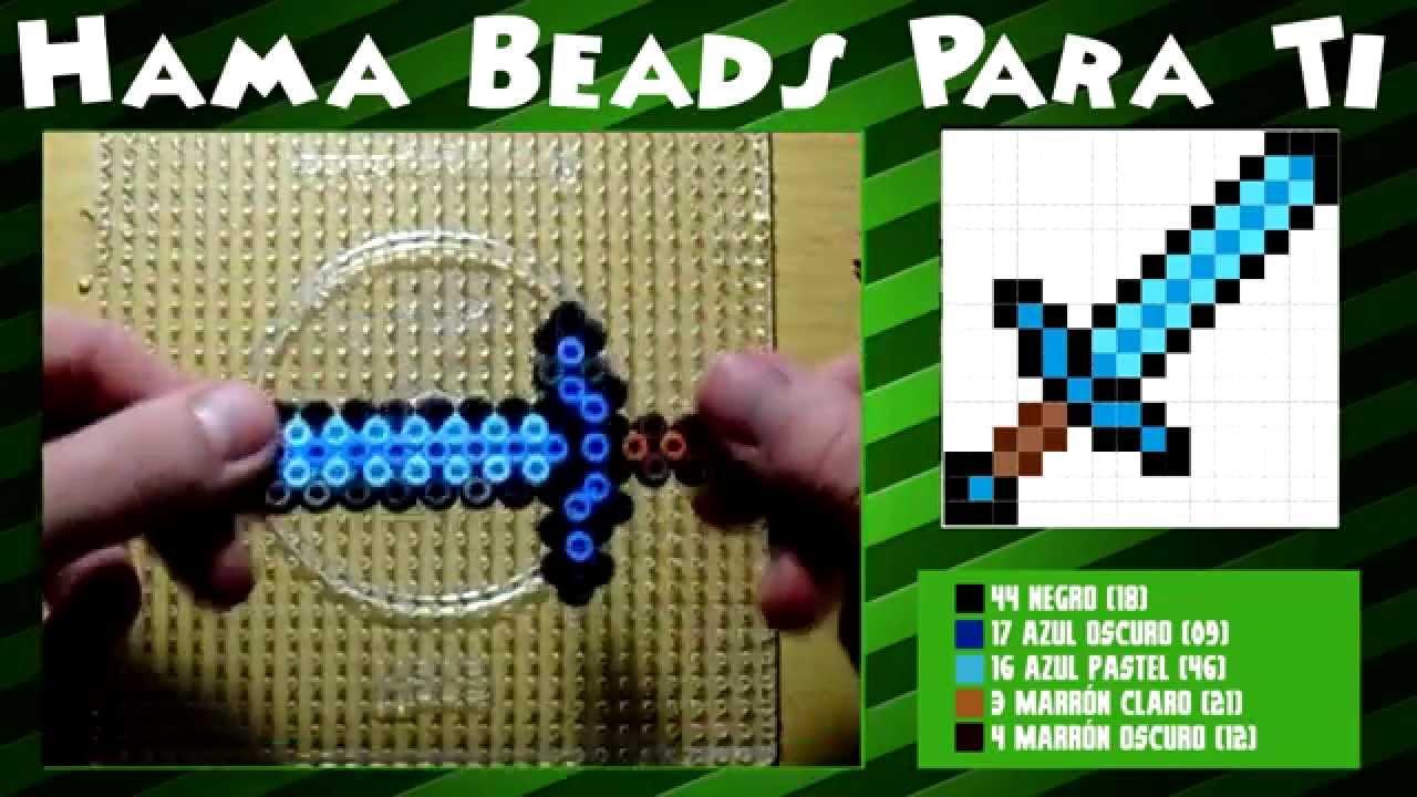 Espada de minecraft tutorial hama beads perler beads for Manualidades con bolitas