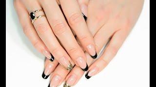 видео Черный френч на ногтях: фото французского маникюра.