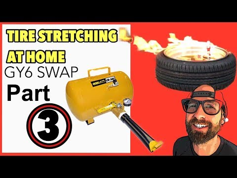 How to stretch a tire [Honda Ruckus GY6 swap] PART 3
