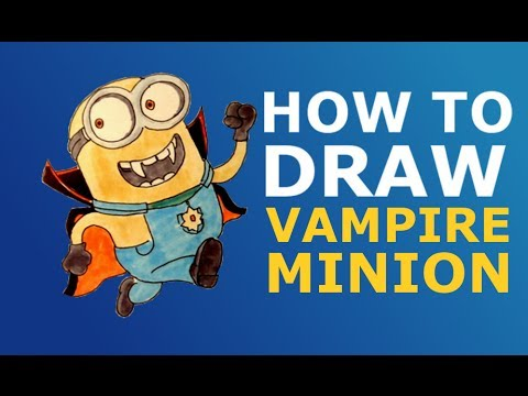 How to draw Halloween Vampire minion from Minion rush easy step by