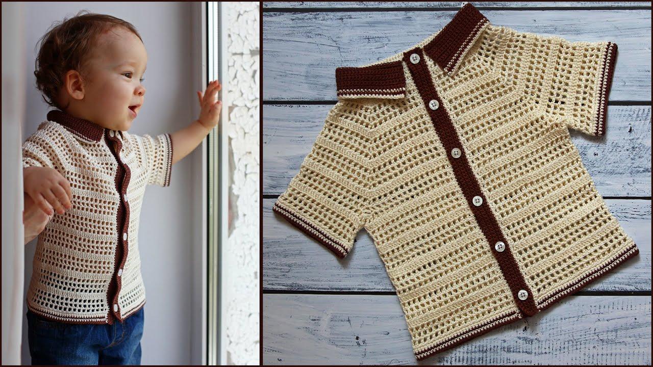 Детская рубашка крючком | Летняя кофточка для мальчика крючком