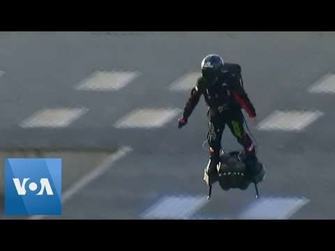 Kevin Johnson - French Inventor Crosses High Above English Channel on Hoverboard!