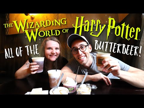 ALL 7 BUTTERBEER OPTIONS | WIZARDING WORLD OF HARRY POTTER UNIVERSAL STUDIOS | MUKBANG