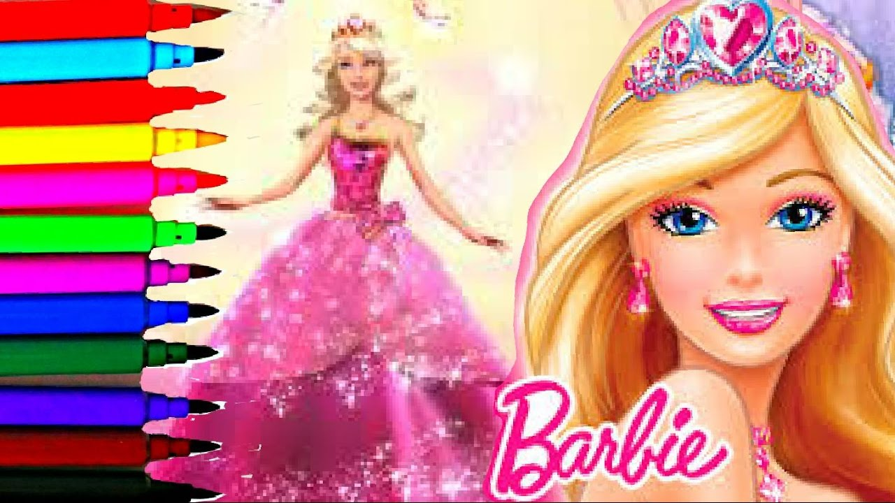 Barbie Coloring Book Pages Rainbow Sparkling Dress Kids Fun Art Balloons Toys
