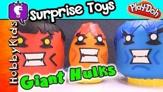 GIANT Play-Doh HULK Egg! Surprise Toys Minions Legos Minecraft Imaginext TMNT By HobbyKidsTV