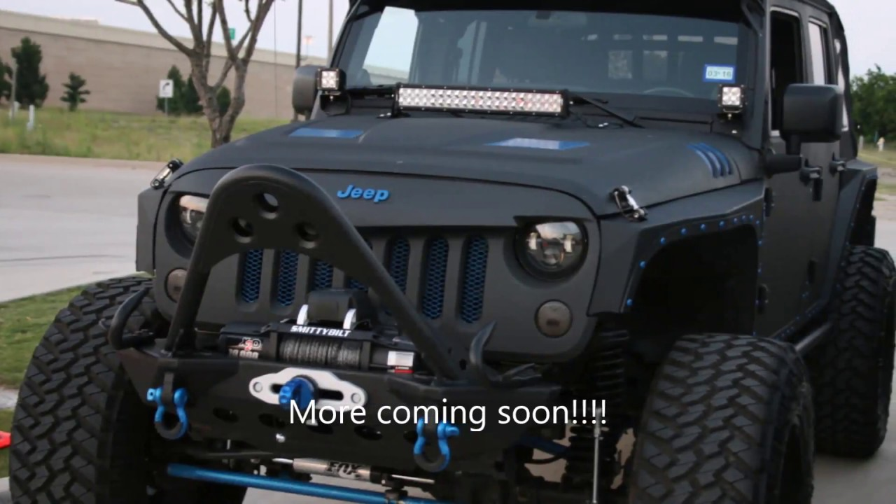 2018 Black Jeep Wrangler >> custom lifted jeep black on blue - YouTube