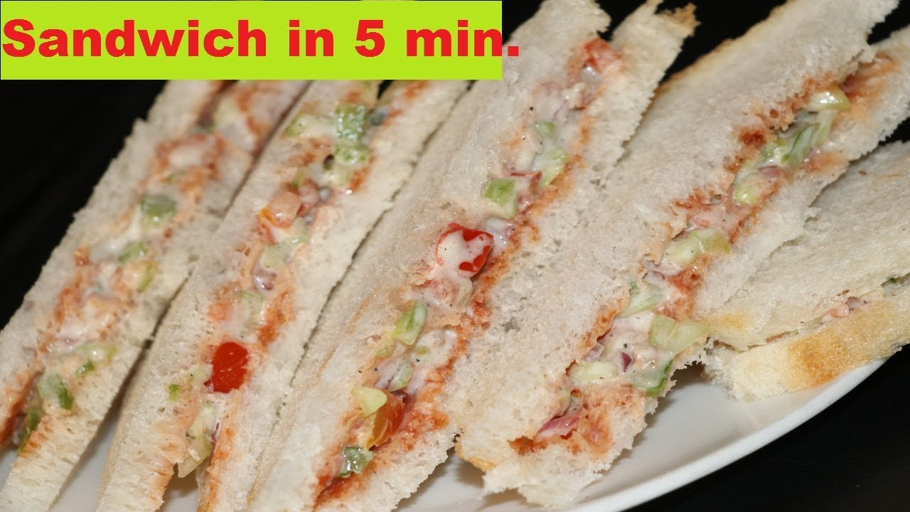 Sandwich In 5 Minutes Kids Tiffin Recipe Veg Mayonnaise Sandwich Breakfast Recipe Youtube