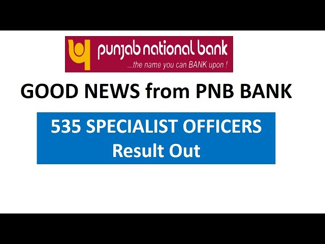 Good News from PNB   SO Result Out