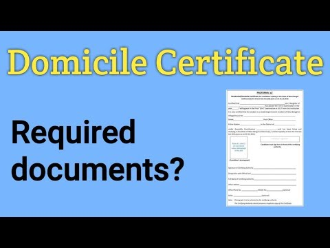 Domicile Certificate | Required Document's