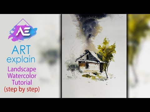 Dark Sky Watercolor Landscape Painting | How to paint a watercolor landscape | Art Explain