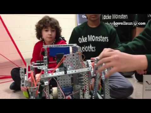 Christian & Saketh of Locke Middle School, Billerica, explain VEX Robotics task & how their robot wo