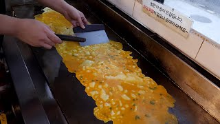 철판 치즈 계란말이 / cheese rolled omelet - gyeranmari / korean street food