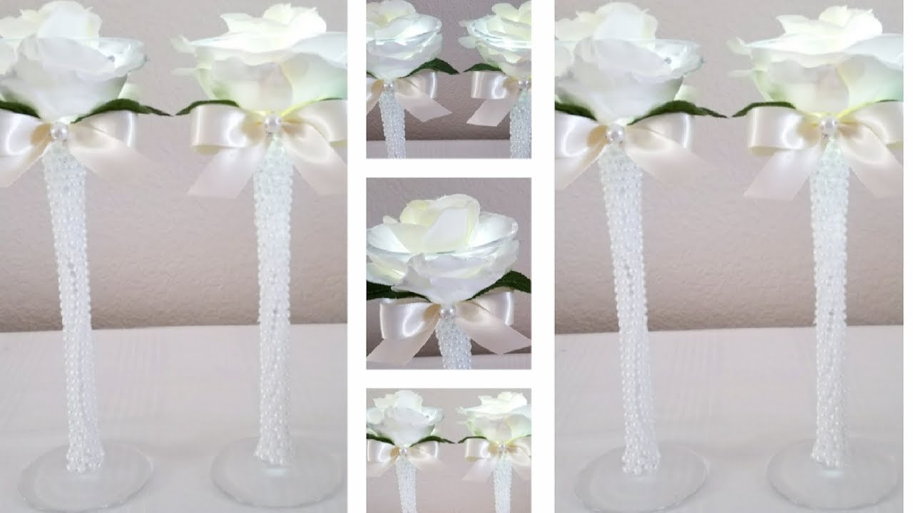 DIY| LIGHTED ROSE CANDLE HOLDERS - YouTube