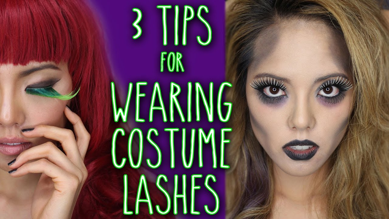 How To Apply Halloween And Costume False Eyelashes Youtube