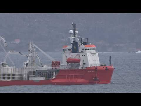 """""""ATALANTI"""" cable layer & """"ARTEMIS"""" Tug Supply Support at anchor in CABO FISTERRA, FINISTERRE SEA."""