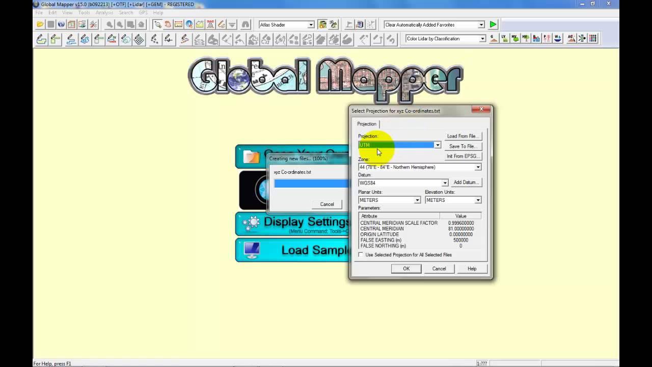 Batch Convert UTM Co-Ordinates to Latitude and longitude in Global Mapper