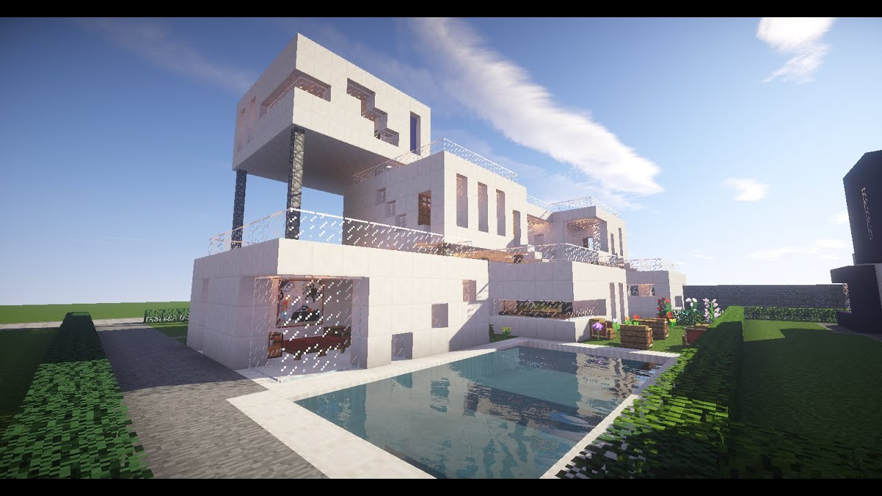 Minecraft architecture modernist style house 1 on creative plot on hatventur - Minecraft and architecture ...
