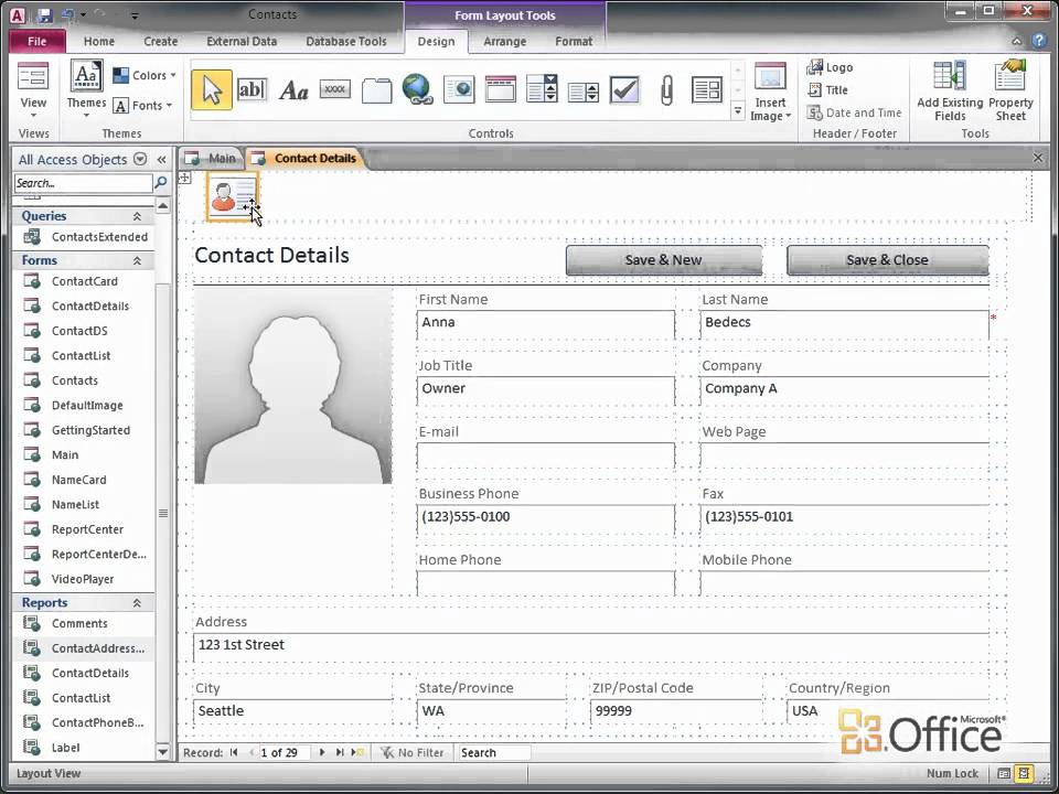 Access 2010 Add, reuse, and update images on forms and reports - employee update form