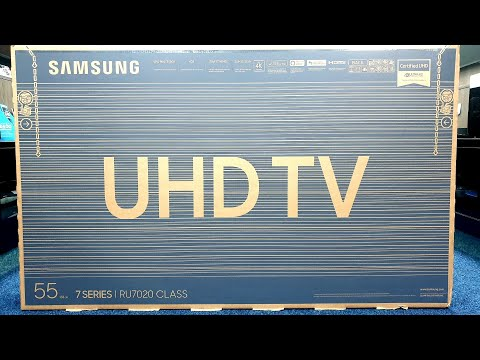 Samsung RU7020 Unboxing And Setup, 4K Demos 55RU7020