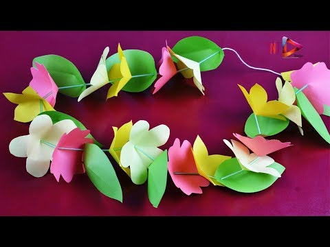 How To Make Flowers Lei Easy With Paper - DIY Paper Flower Leis - Paper Craft